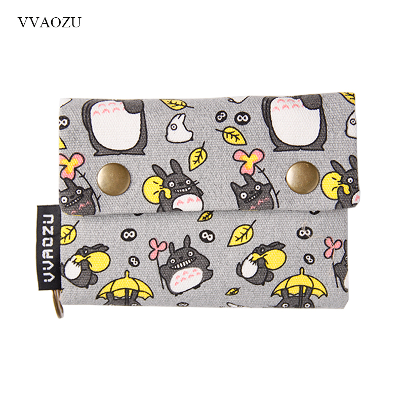 New Anime Japan TOTORO Cat Wallet Pouch Case Short Canvas Money Bags Kumamon Bear Print Card Holder Zipper Coin Pocket Purses