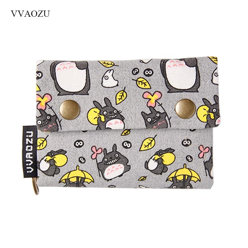 New Anime Japan TOTORO Cat Wallet Pouch Case Short Canvas Money Bags Kumamon Bear Print Card Holder Zipper Coin Pocket Purses