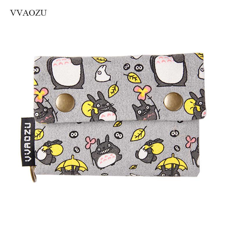 New Anime Nhật Bản TOTORO Mèo Wallet Pouch Trường Hợp Ngắn Vải Túi tiền Kumamon Gấu In Chủ Thẻ Dây Kéo Túi Đồng Xu ví