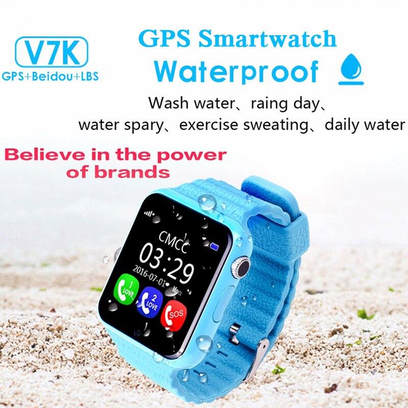 imágenes para Los niños la Seguridad perdida Anti GPS Tracker Impermeable Reloj Inteligente V7K 1.54 ''de Pantalla Con la Cámara Del Cabrito SOS de Emergencia Para IOS y Android