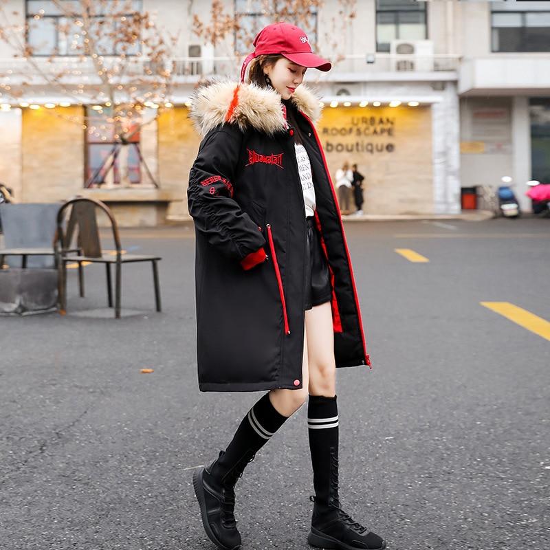 À Femelle Lâche Black Coréenne Minceur Manteau Nouvelle Graisse Mi longueur Capuche Version D'hiver Grande Vêtements Taille W0nW1vxaq