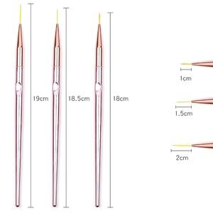 Image 2 - 3pcs/set Rose Gold Nail Art Line Painting Brushes Metal Handle Thin Liner Drawing Pen DIY UV Gel Tips Design Manicure Tool Kits