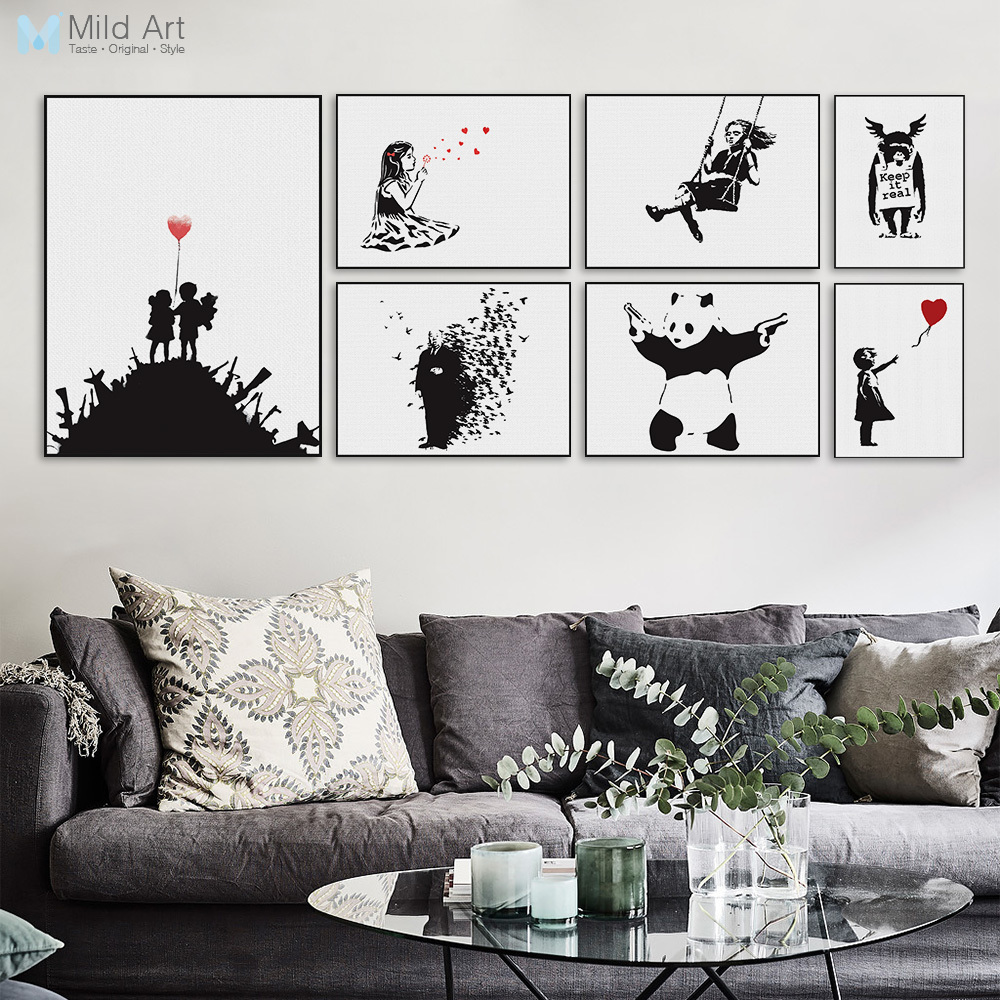 Banksy Black White Modern Abstrcat Pop <font><b>Hipster</b></font> A4 Art Print Poster Wall Picture Living Room Canvas Painting No Frame <font><b>Home</b></font> <font><b>Decor</b></font>