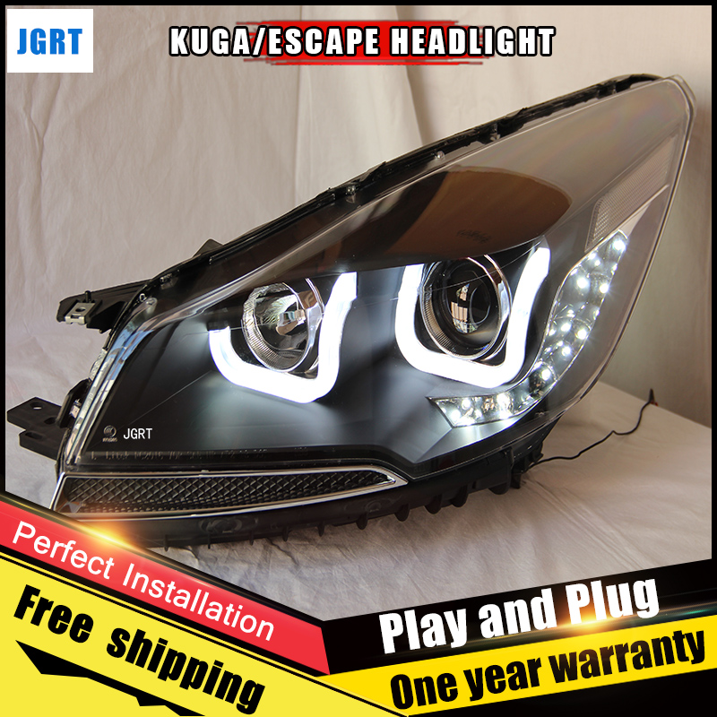 Car Style LED headlights for Ford escape 2013-2015 for escape head lamp LED DRL Lens Double Beam H7 HID Xenon bi xenon lens hireno headlamp for 2013 2015 ford kuga escape se headlight headlight assembly led drl angel lens double beam hid xenon 2pcs