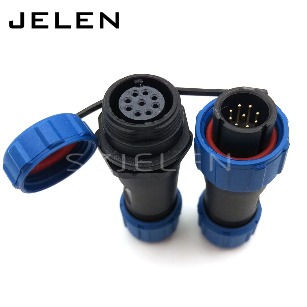 SP13, 9 pin waterproof  plug and socket, LED power cable outdoor connectors, 9 pin Air connector hanging cable connector,IP68 sd28tp zm 16 pin waterproof connectors led cable plug and socket ip67 industrial panel mount connector current rating 10a