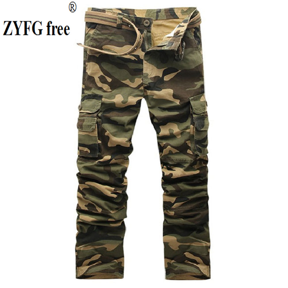 ZYFG Free Men Trousers Casual Middle Waist Camouflage Overalls Multi-pocket Decorative Male Pants Sportspnts