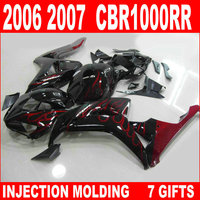 Hot sale injection mold for HONDA new cbr 1000 rr 2006 2007 red flames in glossy black fairings CBR1000RR 06 07 fairing JHB93