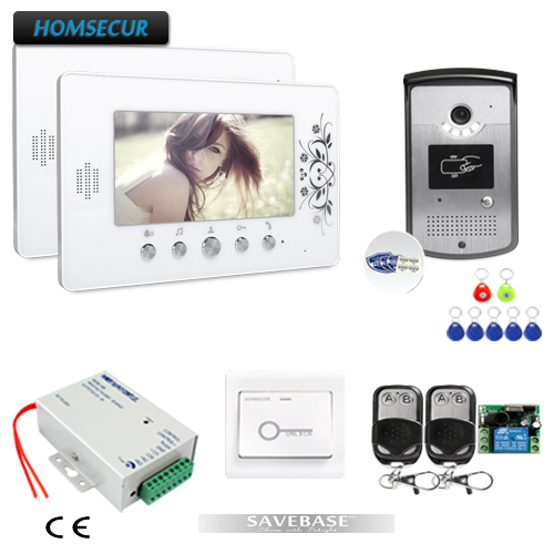 HOMSECUR 7inch Wired Video Door Phone Intercom System with Mute Mode for Home Security (Security Sticker Pack as gift)