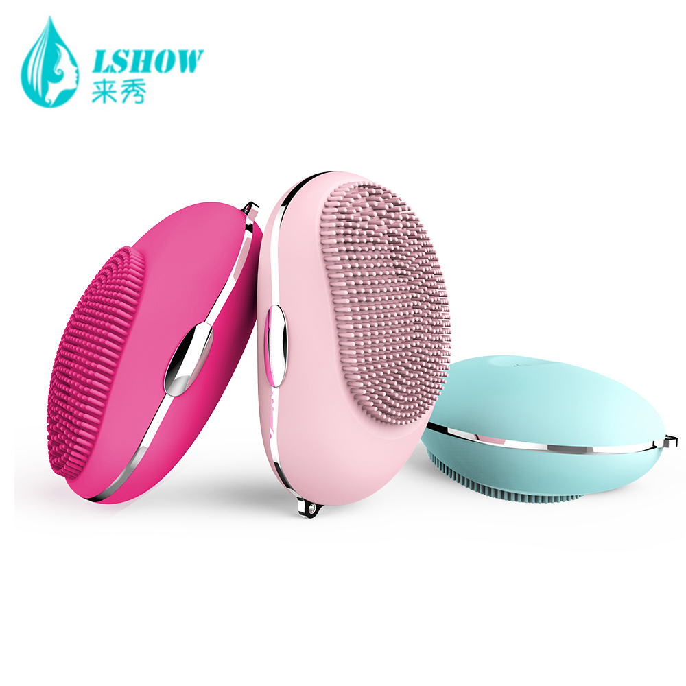 Electric silicone cleansing instrument electric ultrasonic wash brush face care beauty portable massage instrument