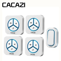 CACAZI Wireless Domestica Campanello Impermeabile 280 M Remote batteria Pulsante Smart Call campana Spina di UE AC Ricevitore 48 Campanello 6 Volume
