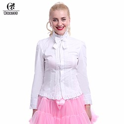 Rolecos-Women-s-Pure-White-Slim-Long-Sleeve-Casual-Lolita-Blouse-Ruffled-Cuff-Summer-Shirts