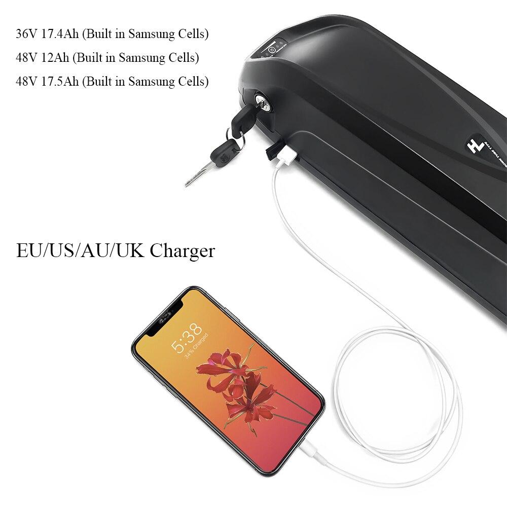 Electric Bike Battery Pack 48V 13Ah 17.5Ah 36V 17.4Ah Built In Samsung 18650 Cells Front Rear Hub / Mid Drive Bicycle Motor Kit