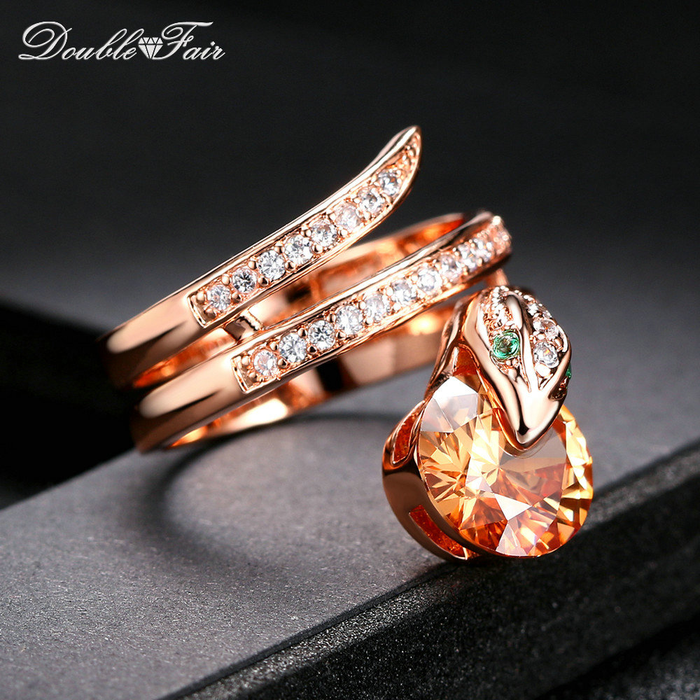 Hot Sale Snake Latching Crystal Micro Pave Cubic Zirconia Finger Rings Rose Gold Color Fashion Jewelry For Women DFR149