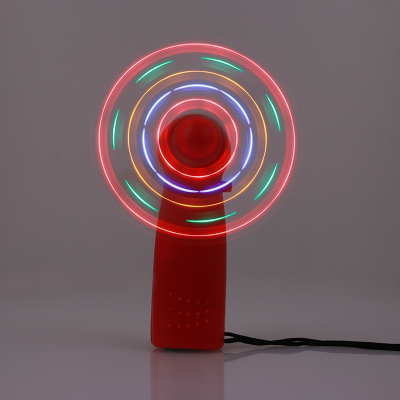 Mini Air Cool Fan Mute Dazzle Light Plastic LED Fan Creative Portable Luminous Summer Night Light Low Noise Hand-Held Fan Gifts