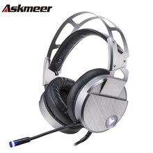 Askmeer V18 Игровые наушники шлем USB стерео Проводная гарнитура Gamer С microphne MIC свет для ПК игры