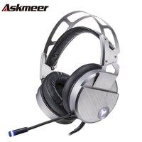 Askmeer V18 Gaming Tai Nghe casque USB Stereo Tai Nghe Có Dây Gamer với Microphone Mic Led Light cho PC Trò Chơi fone de ouvido