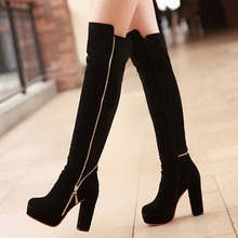 ENMAYER Hot Women's Over Knee High Boots Fashion Chains  Warm Flock  Shoes High Heels  Platform Boots big size34-43 snow boots