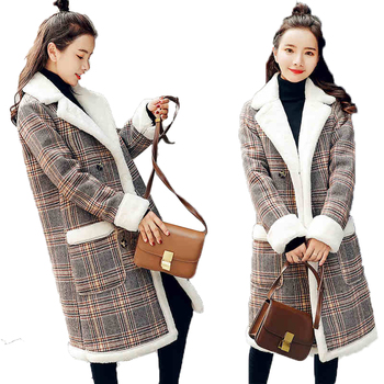 Winter sheepskin coat 2018 new high quality women's Korean thick plaid cotton parkas female coats winter long cotton women's jac