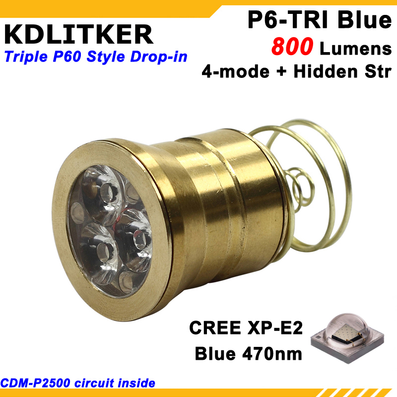 KDLITKER P6-TRI Triple Cree XP-E2 Blue <font><b>470nm</b></font> 800 Lumens 3V - 9V 5-Mode Color P60 Drop-in Module (Dia. 26.5mm) image