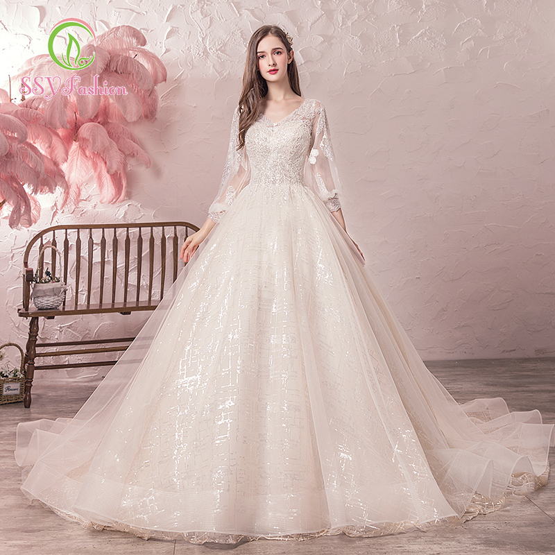 SSYfashion V neck Long Sleeves Lace Up Back Floor Length Ball Gown Sweep Train White Wedding