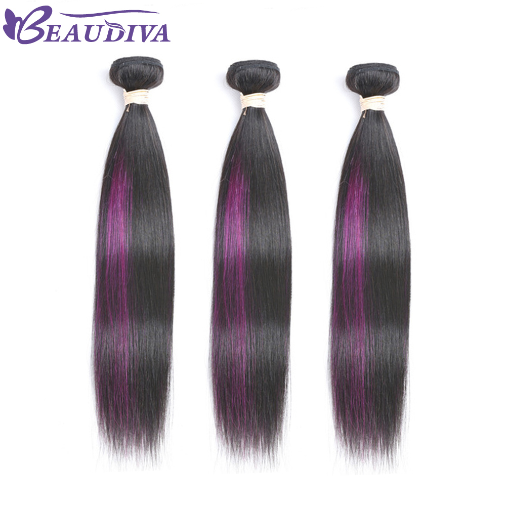 BEAUDIVA Pre Colored Brazilian Straight Purple Ombre Hair Extensions Purple Balayage Color Hair Weave Bundles 10
