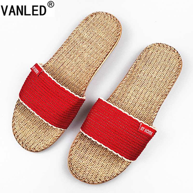 VANLED 2017 New Fashion Summer Autumn Home Linen Slippers Women Indoor\ Floor Breathable Beach Slides Flat Shoes Girls Gift nk 1967 summer shoes home slippers women casual fashion women flat indoor lady slippers house slippers summer