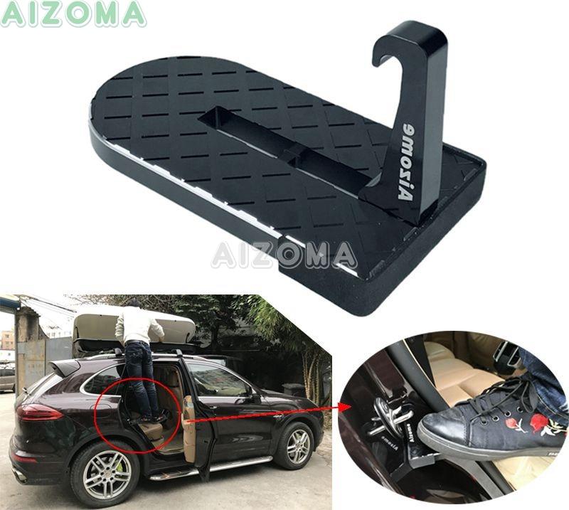 Foldable CNC Aluminum Doorstep Car Vehicle Side Door Hook Pedal Universal For Jeep SUV RV Rooftop Roof-Rack Assistance Footrest