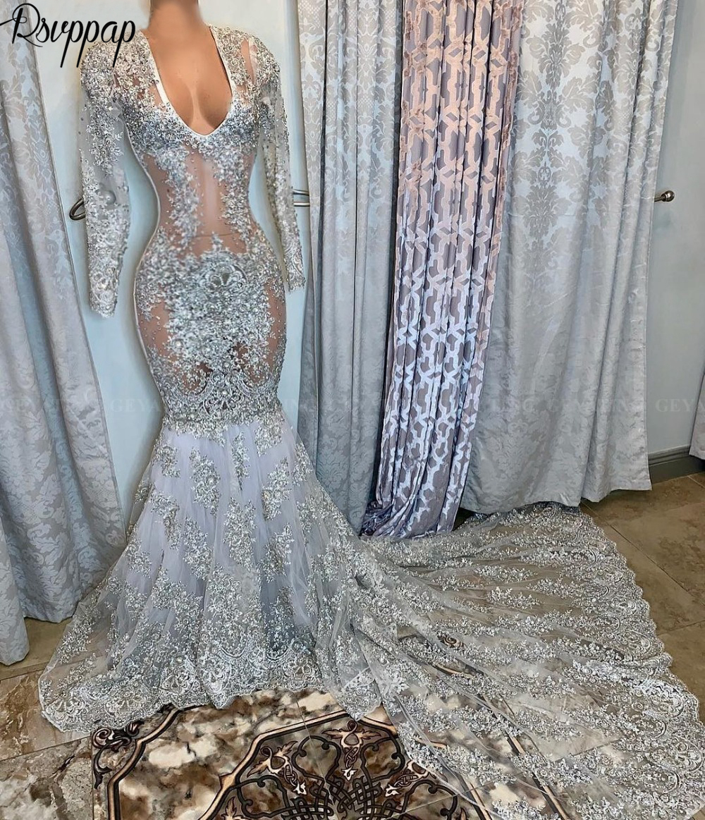 Long Sexy Prom Dresses 2020 African Mermaid Style Sheer Lace Long Sleeve Grey Black Girl Women Party Prom Gowns