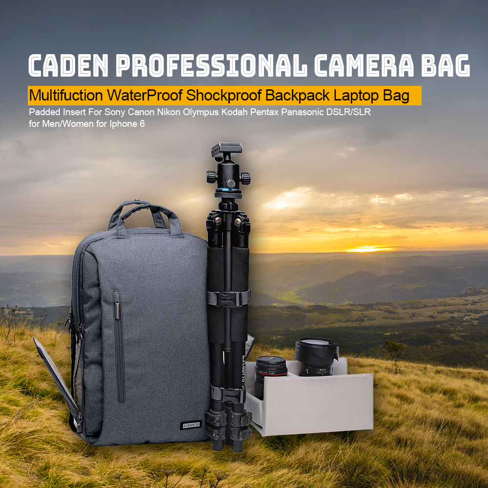 Caden L5 Camera Bag Professional Multifuction WaterProof Shockproof Backpack Laptop Bag Padded Insert for Sony Canon Nikon DSLR new pattern caden l5 camera backpack bag stylish nylon multifunction shockproof video photo bags fit for canon 50d 60d 100d 550d