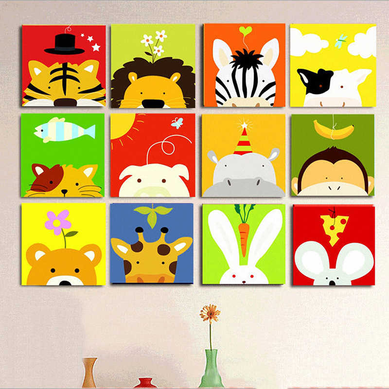 Frame Animals DIY Painting By Numbers Kit Kids Picture Paint By Numbers Hand Painted Unique Gift For Children Arts 20x20cm