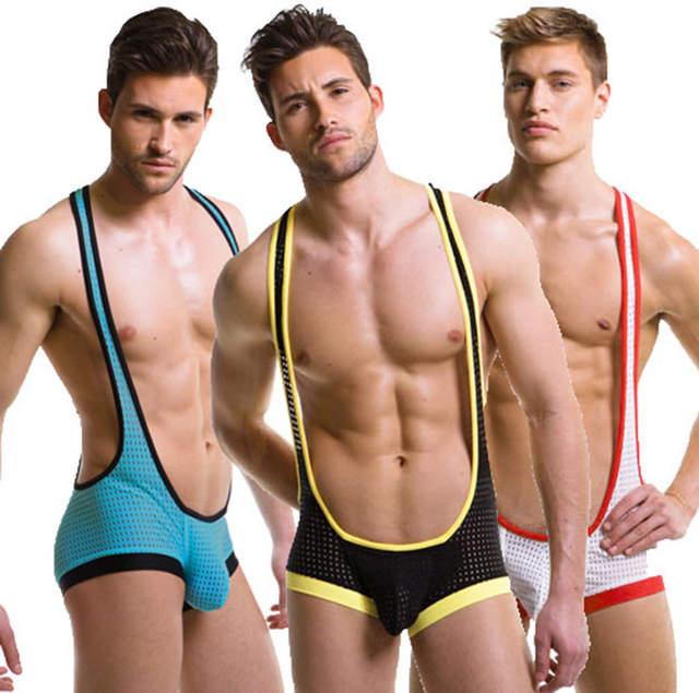 c37e0f53fc Hot Sexy Men s WRESTLING SINGLET underwear U convex design Breathable Mesh  Underwear Jumpsuit bodysuit