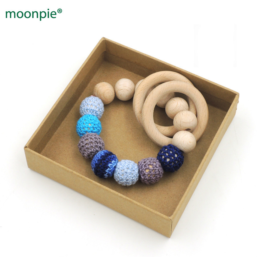 Organic Nursing Toy Beech Ring Teething Toy Baby Boy Gift Navy Color Crochet Beads 15mm Rattle Toddler Et22 Preventing Hairs From Graying And Helpful To Retain Complexion Mother & Kids