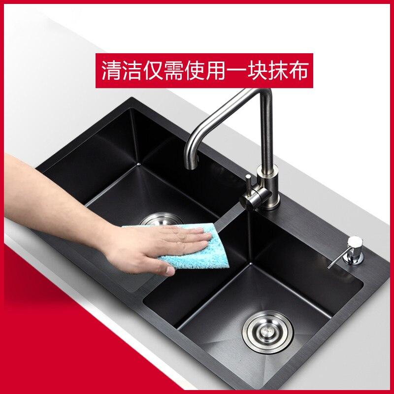 Main-made évier double-réservoir épaissie en acier inoxydable nano-antimicrobiens noir or argent cuisine lavabo