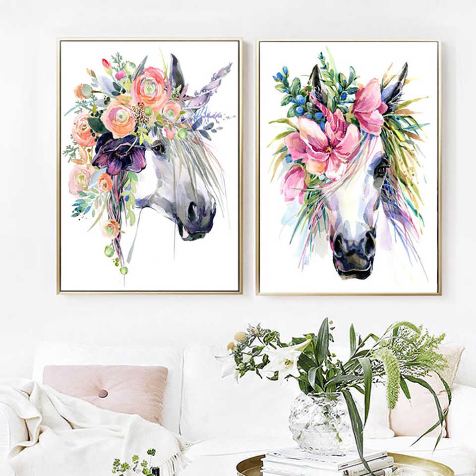 Canvas Paintings Home Decorative Nordic style Lovely Unicorn Flower Pictures Modern Printed Poster For Living Room Wall Artwork