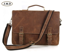 7229B JMD Retro Antique Style Mens Crazy Horse Leather Messenger Briefcases Bags Laptop Bag