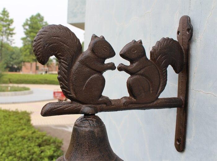 Чугунная белка Добро пожаловать обеденный звонок в деревенском стиле Подвесной Настенный монтированный звонок Дверной звонок наружное ук... - 3