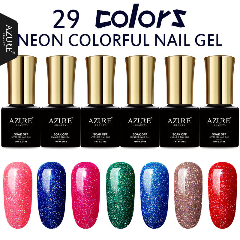 AZURE BEAUTY Fashion Neon Gel esmalte para uñas 29 colores Soak Off Gel Barniz Laca brillante híbrida Azure Nail Gel Polish