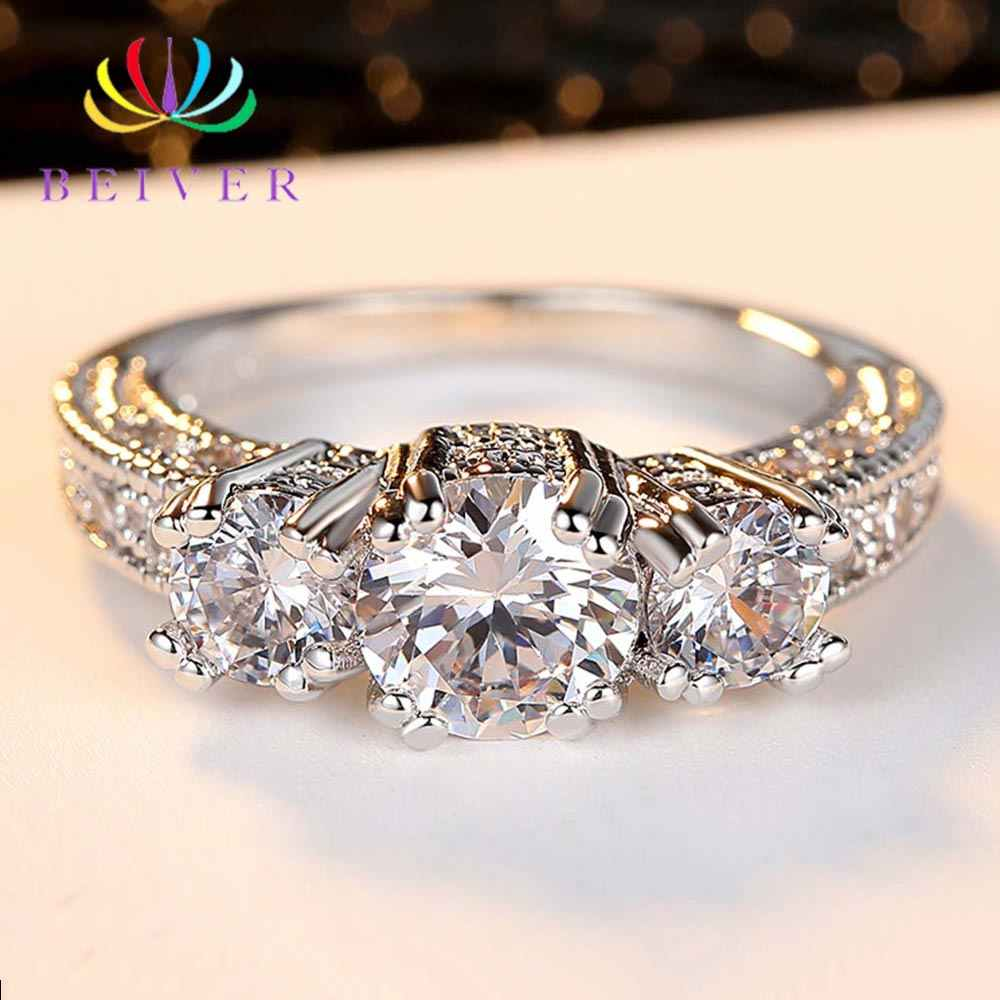 Beiver Clear 3 Stones Zircon Women Ring White Gold Filled Wedding Party Engagement Rings Created SapphireJewelry Bijoux