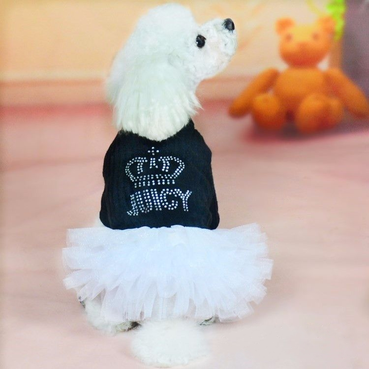 New Dog Sweater Knitting Patterns 2019 Spring Autumn Dress Warmers Pet Princess Rhinestone Crown Pleated Skirt for Teddy Bichon