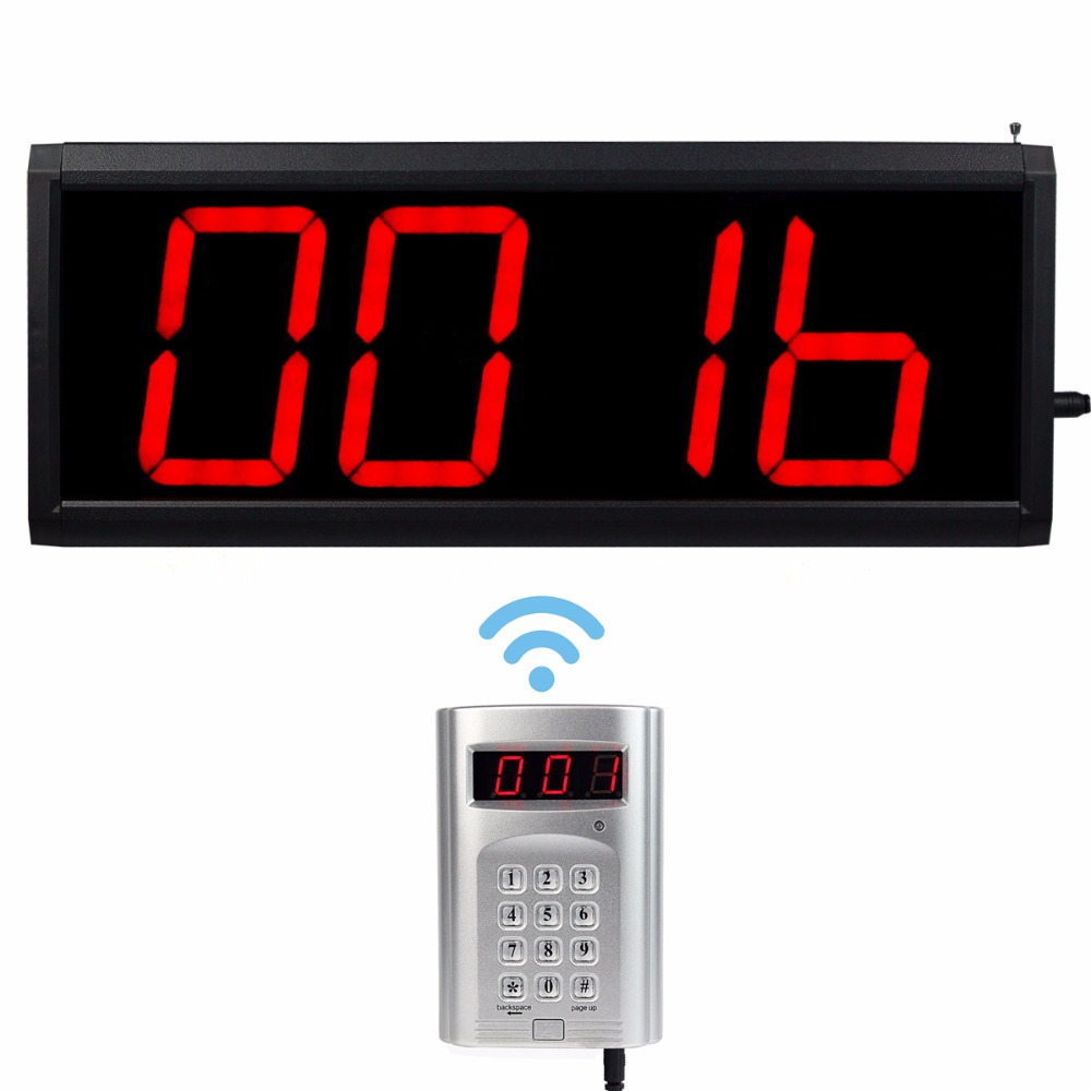 Wireless Call Number System Restaurant Paging Queuing System 1 keyboard transmitter +1 host F4410D wireless service call bell system popular in restaurant ce passed 433 92mhz full equipment watch pager 1 watch 7 call button