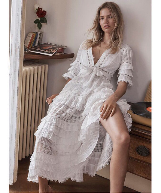 Luoanyfash 2018 White Lace Dress For Women Deep V Neck Short Sleeve Tunic High Waist Draped Long Dresses Summer Fashion Clothing by Luoanyfash