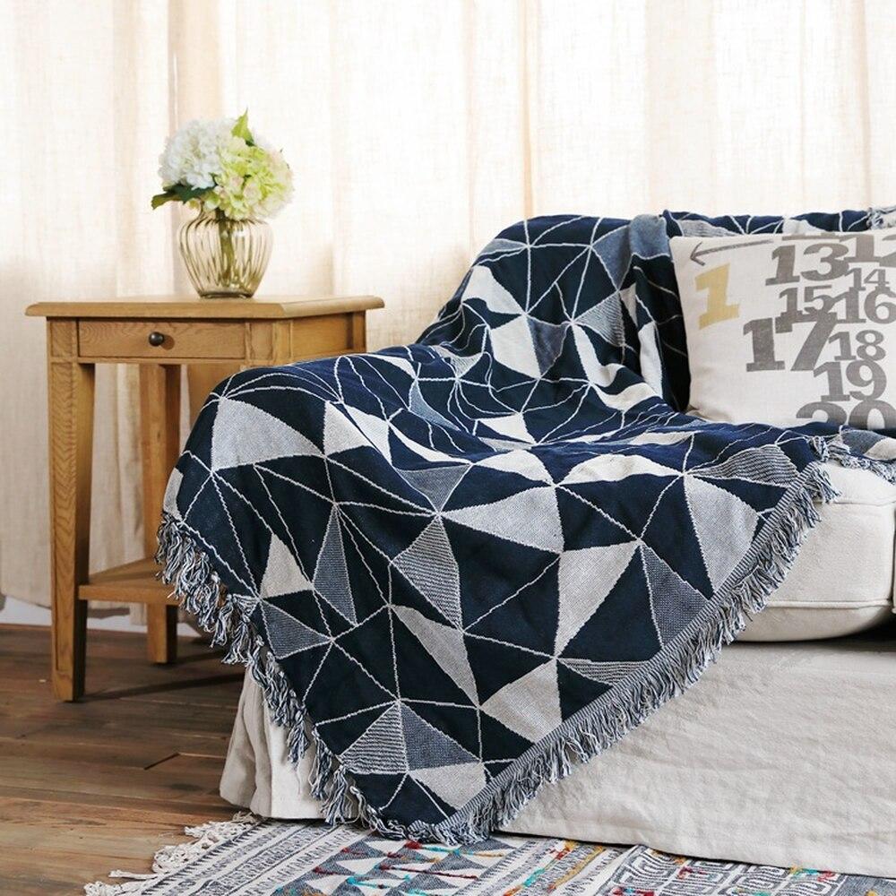 Geometrica Grossolani filo di cotone Retro tappeto di spessore coperta tie dye Arte Etnica di cotone coperta letto soggiorno feltri parete arazzo - 3