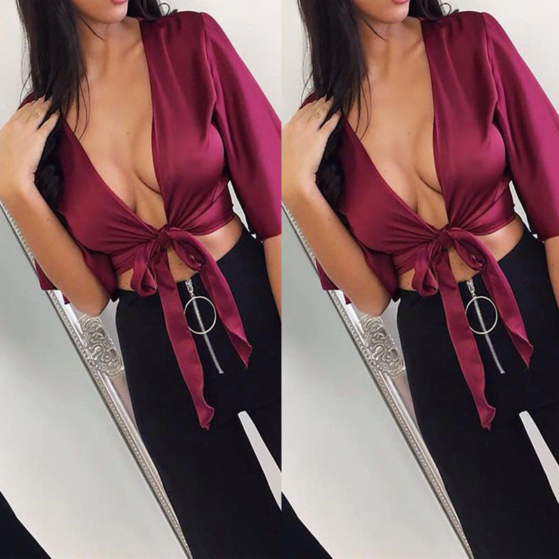 2018 Women's Satin Silk Tie Knot Crop Top Ladies Front Flared Sleeve Plunge Neck Blouses