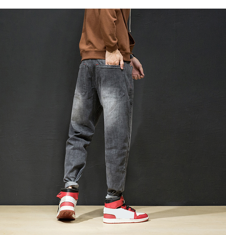 KSTUN Jeans Men Japan Harem Pants Ripped Patched Hip hop Joggers Distressed Biker Jeans Grey Stretch Casual Denim Trousers Boys 22