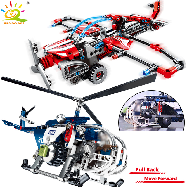 Military Helicopter glider Pullback Building Blocks Compatible Technic city plane bricks Educational Toys for children