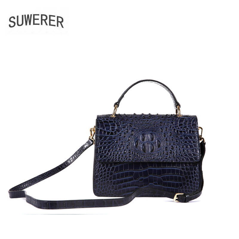 SUWERER 100% High Quality 2018 New 100% High Quality Luxury Fashionable 100% High Quality Cowhide Crocodile Shoulder Bag Brand N high quality digium tdm410p