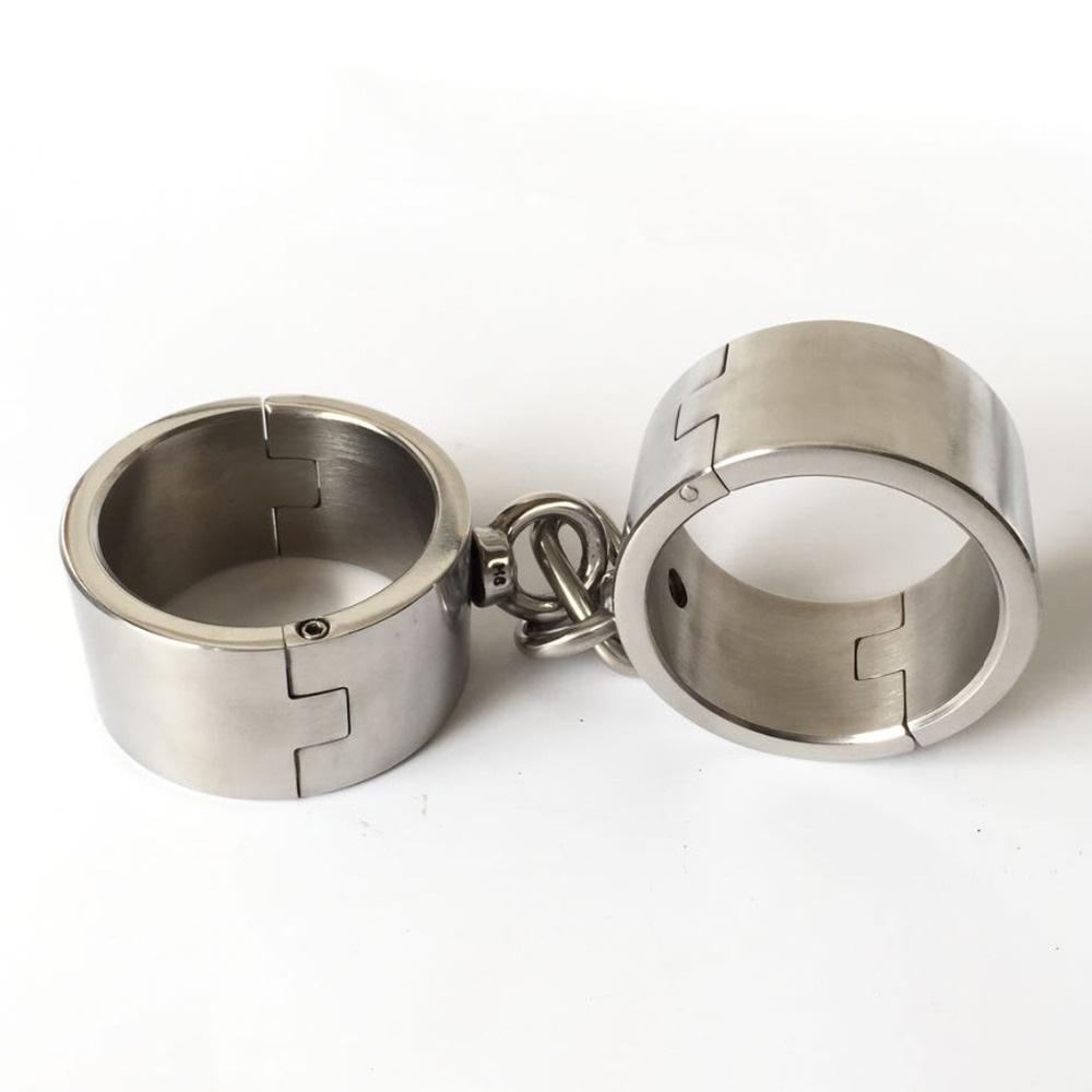 4cm high stainless steel heavy handcuffs metal bondage bdsm for women/men slave restraints hand cuffs adult games sex products stainless steel wrist cuffs metal restraints bondage slave in adult games for couples fetish sex toys for men and women