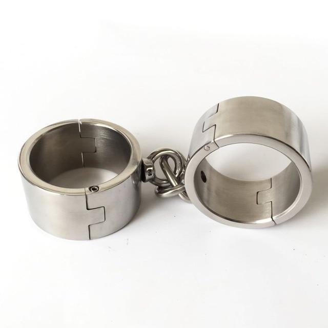 4Cm High Stainless Steel Heavy Handcuffs Metal Bondage -6303