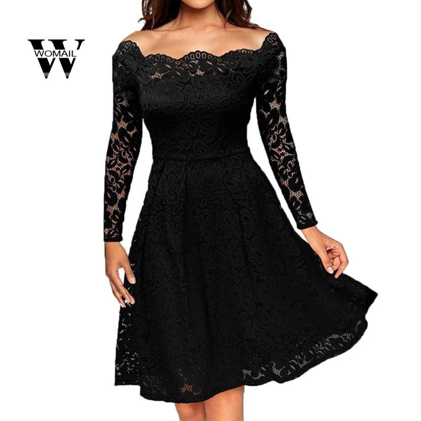 2018 Новое Женское винтажное платье с открытыми плечами кружевное вечернее платье с длинными рукавами потрясающее S M L XL 2XL 1 января
