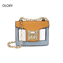 Womens new two mixed-color small party package female 2018 fashion simple chain shoulder bag tide wild Messenger